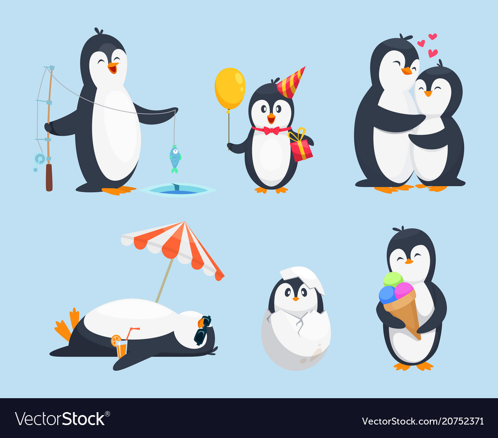 Baby pinguins in different poses