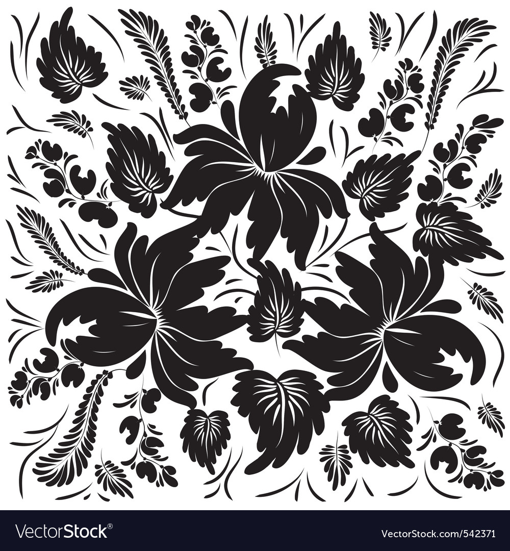 Black Flowers On A White Background Royalty Free Vector