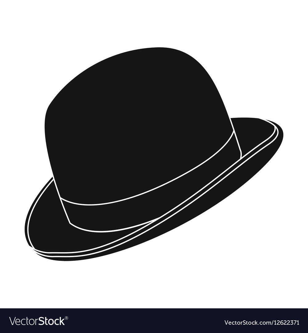 Bowler hat icon in black style isolated on white Vector Image d5e1abaf629
