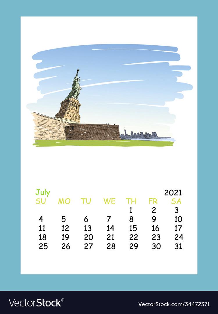 Calendar sheet new york july month 2021 year