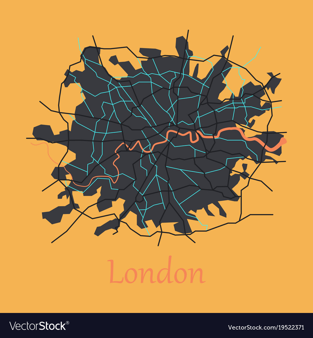 flat color map of london united kingdom city plan vector image