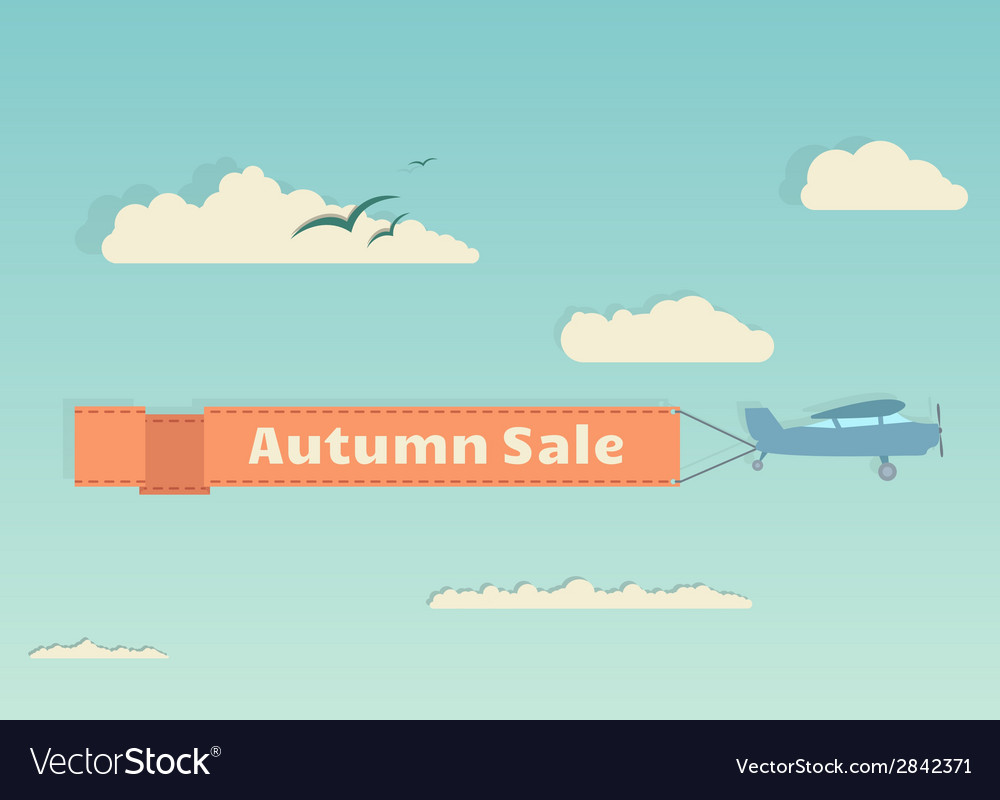 Flying plane with autumn banner