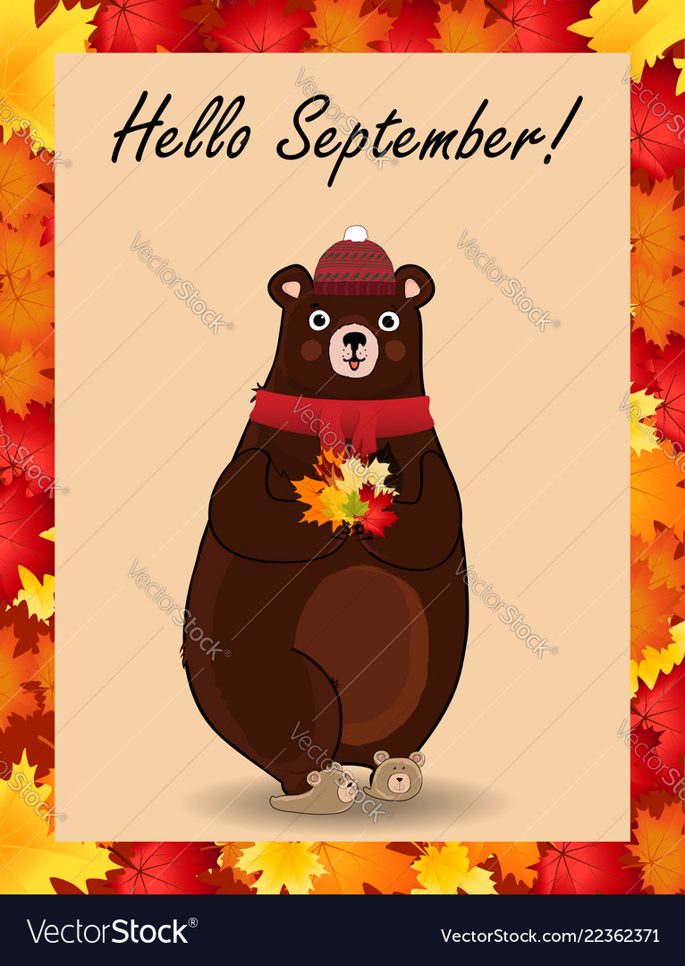 Hello september poster with cute bear in hat and
