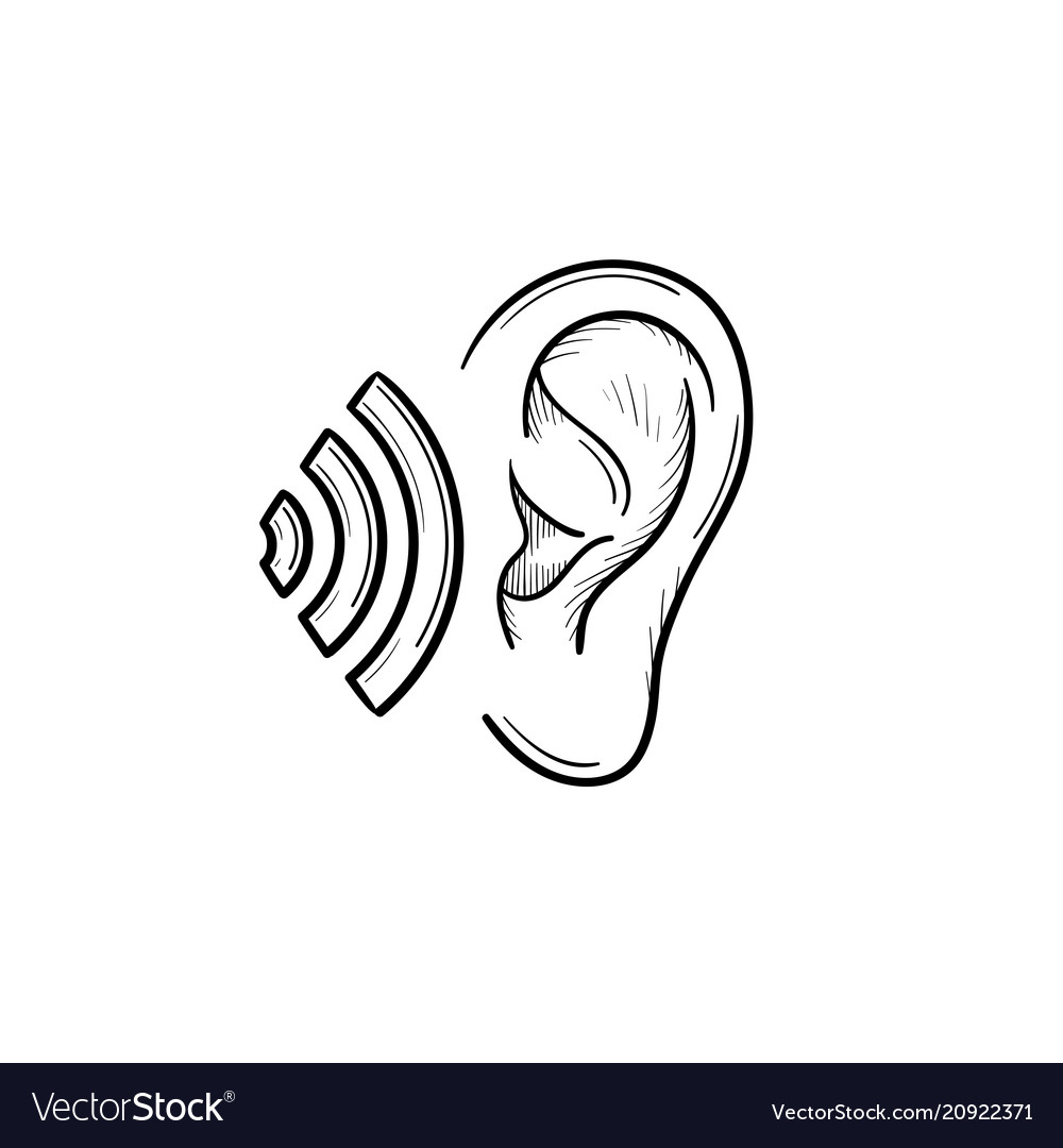 human ear with sound waves hand drawn outline vector image