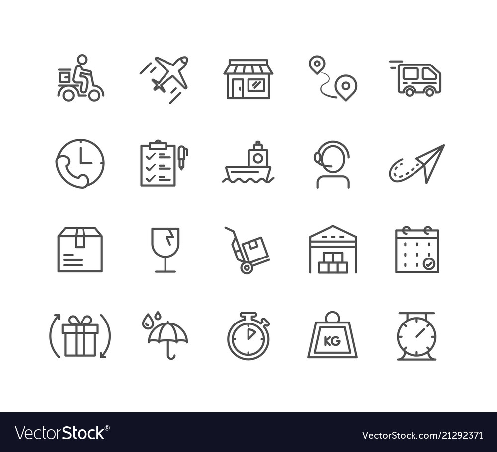 Simple set of delivery thin line icons editable