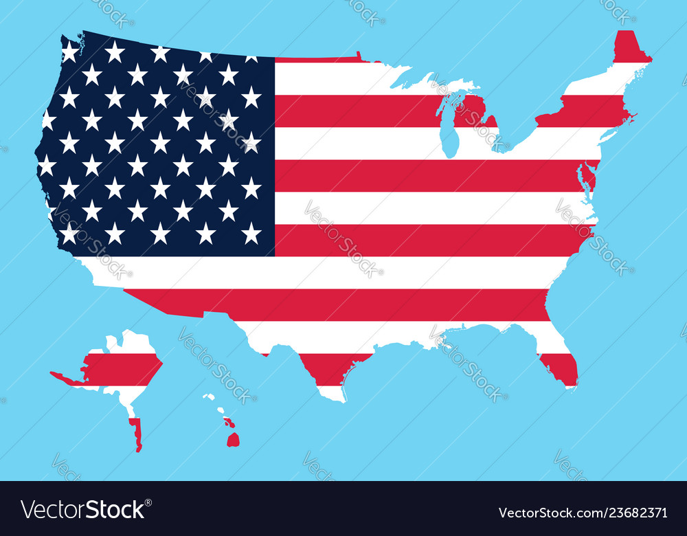 Usa map flag on a blue background