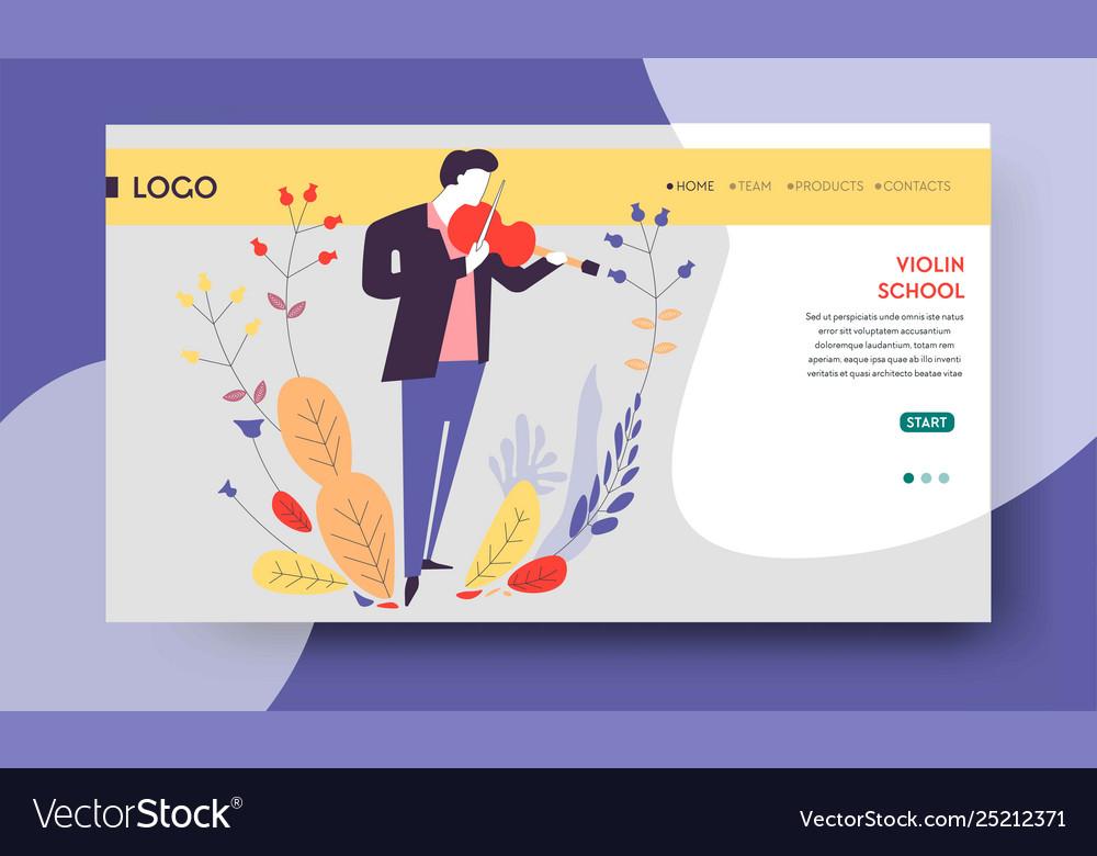 Violin school music education web page template