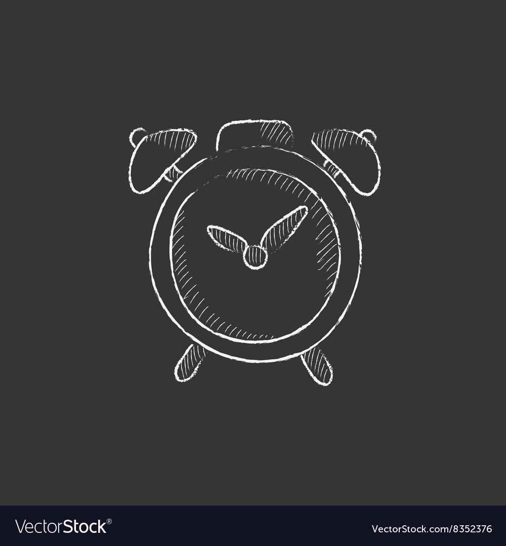 Alarm clock Drawn in chalk icon vector image