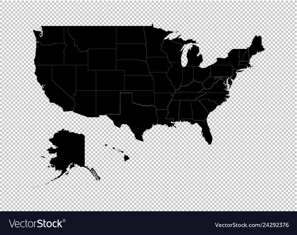 America map - high detailed black map with