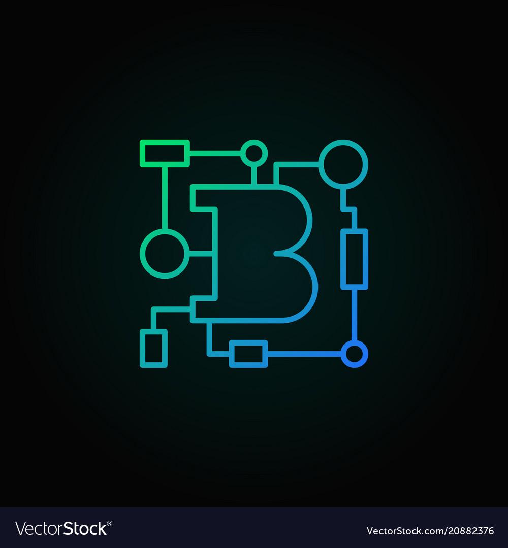 Blockchain technology blue linear logo