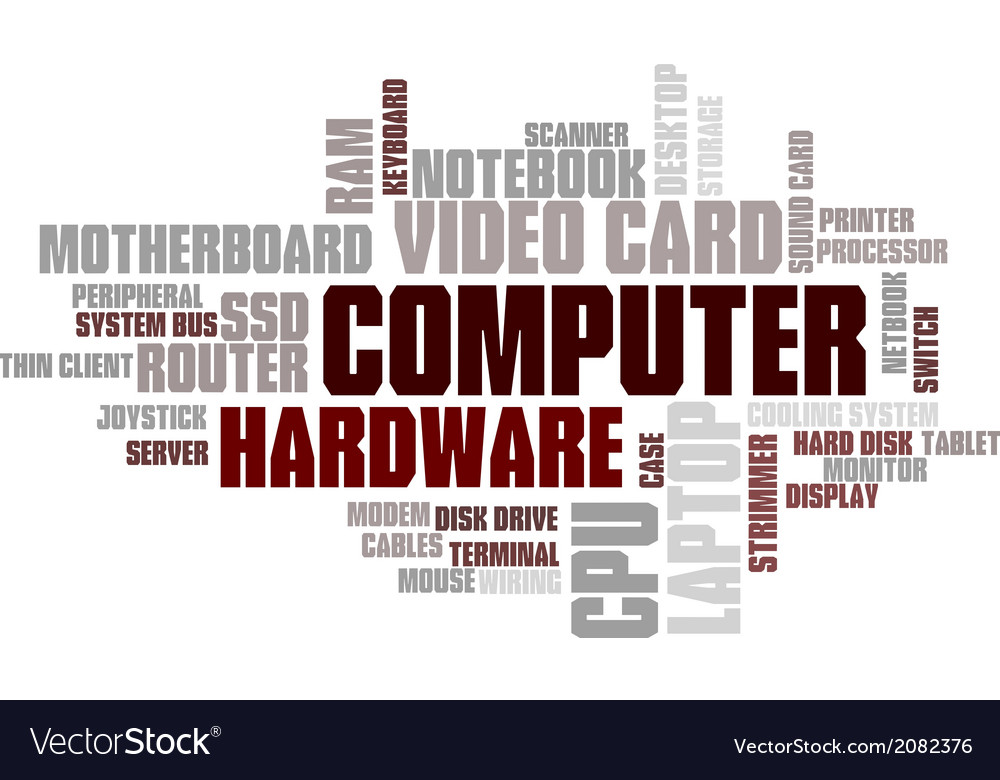 Computer Hardware Word Cloud Bubble Tag Tree