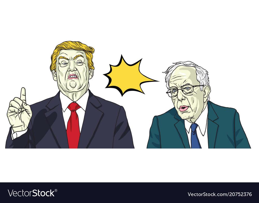Donald trump and bernie sanders cartoon