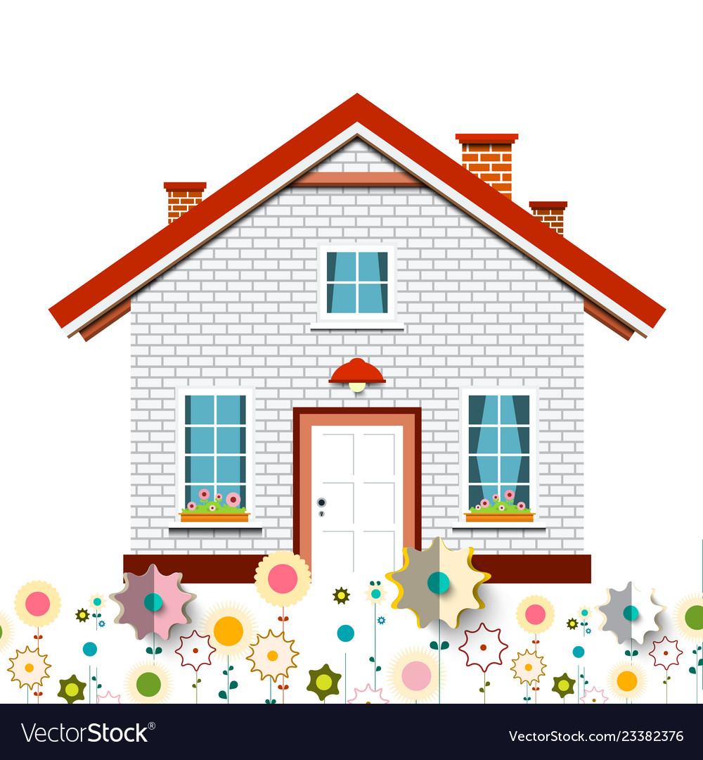 Family house with flowers design
