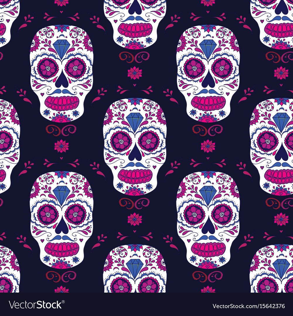 Hand drawn mexican day of the dead seamless