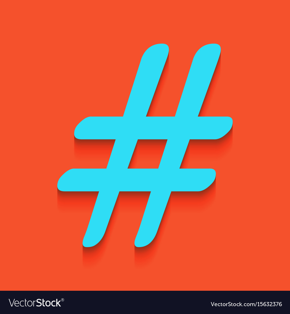 Hashtag sign whitish icon on vector image