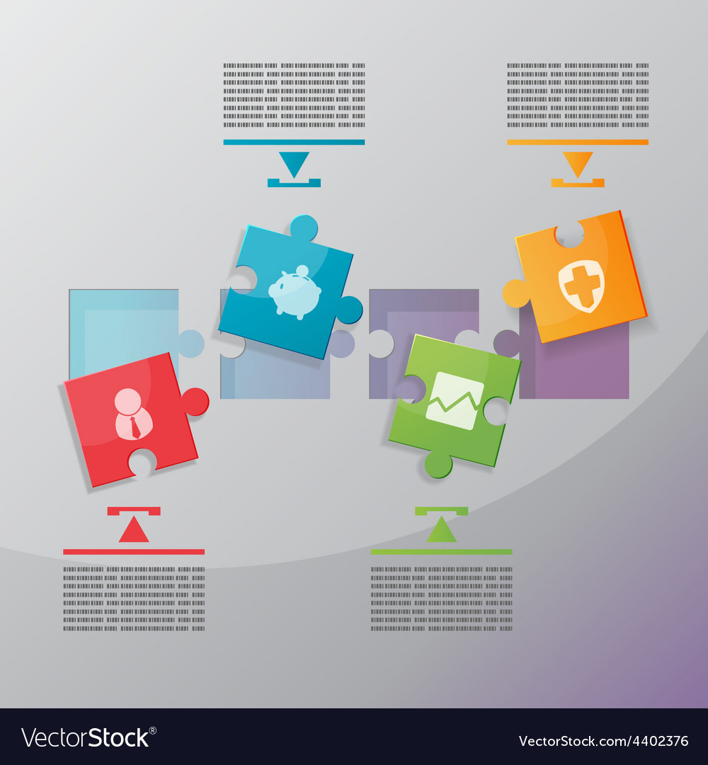 Jigsaw Modern info graphics process vector image