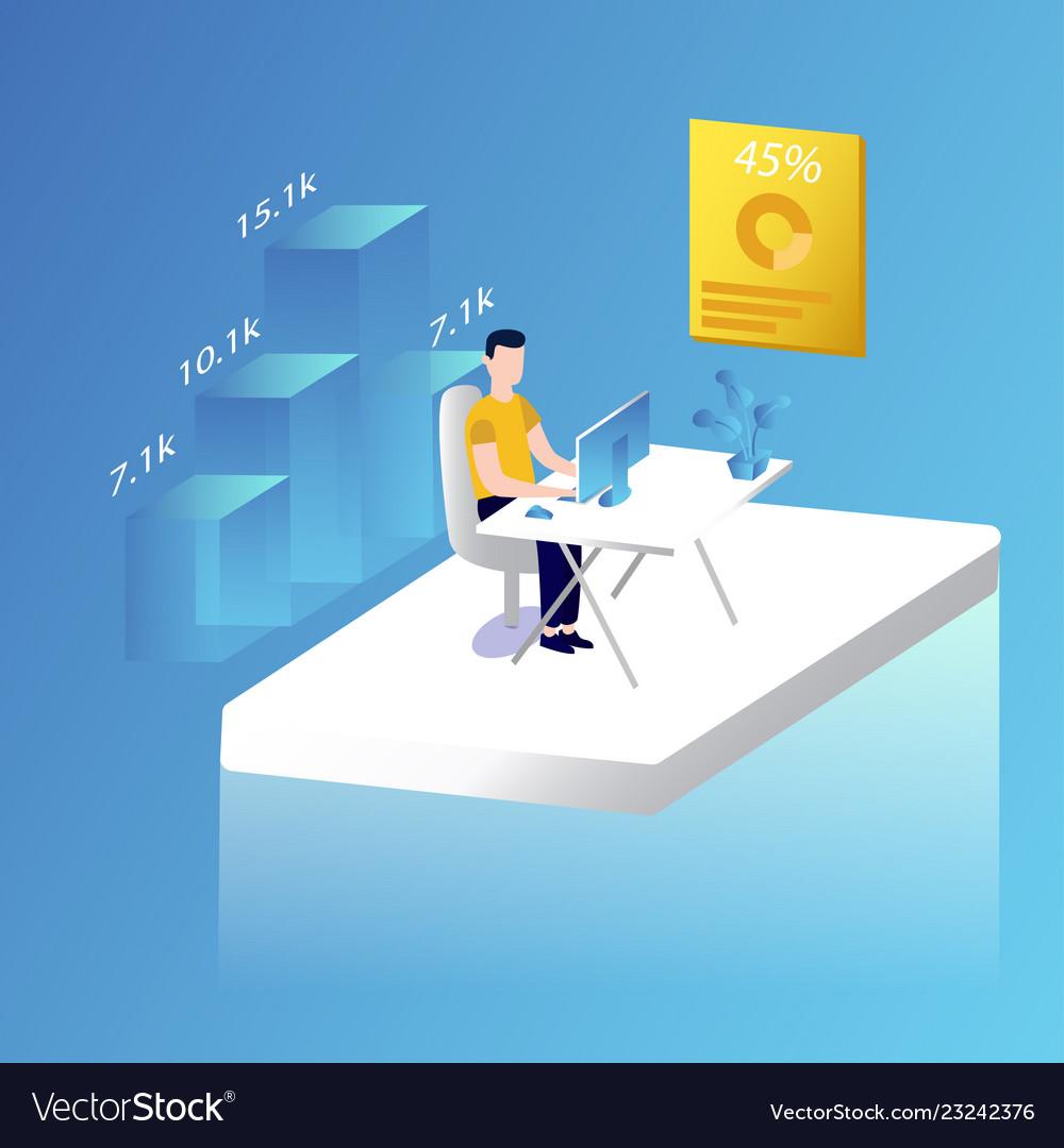 Male working in office