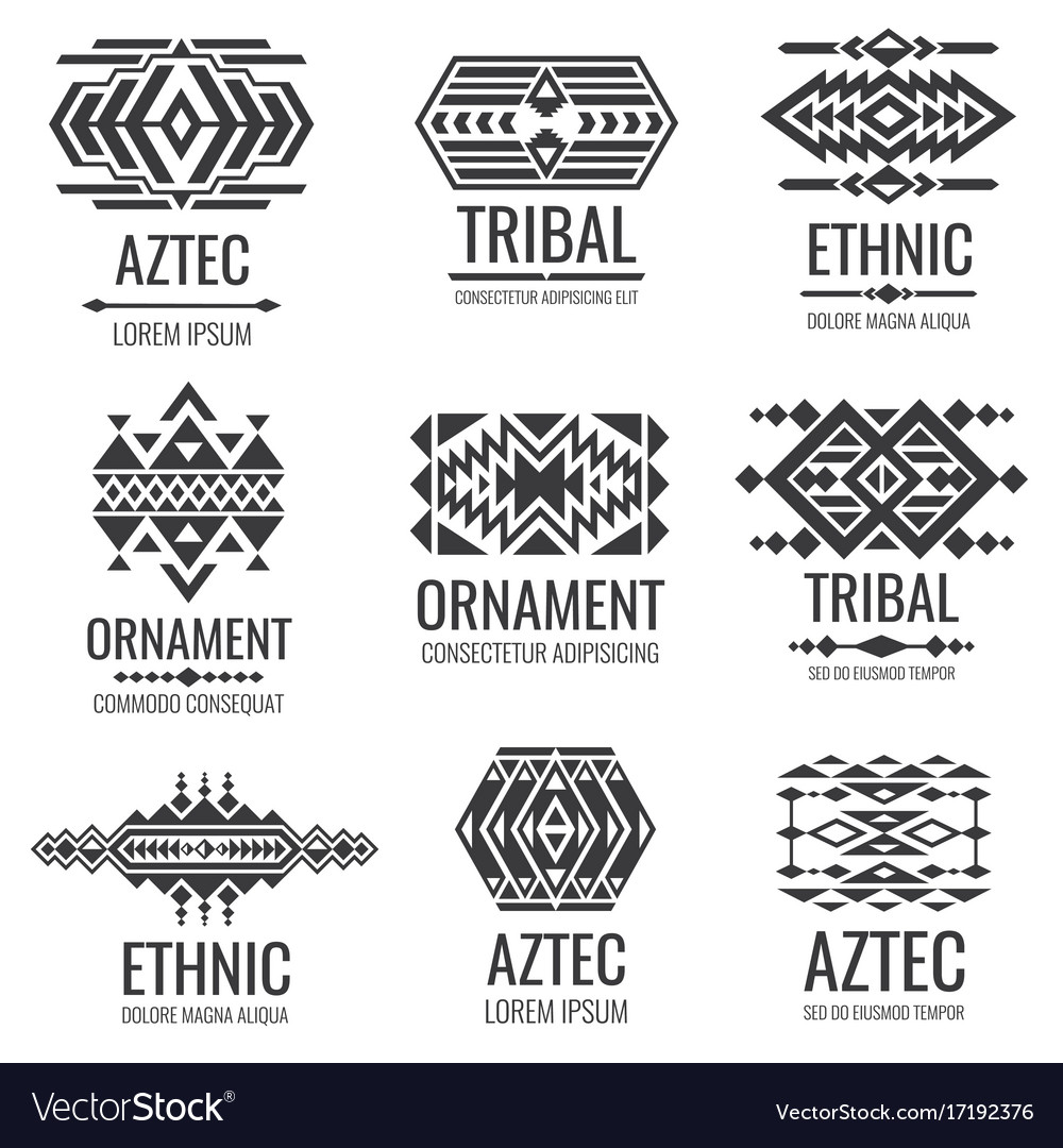 mexican aztec symbols vintage tribal royalty free vector