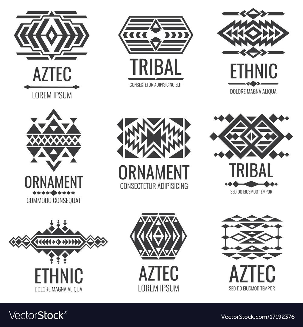 Mexican Aztec Symbols Vintage Tribal Royalty Free Vector