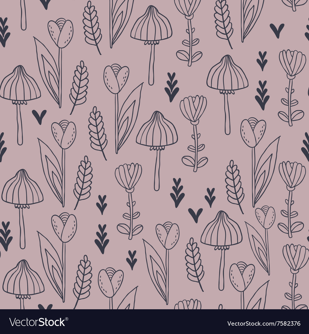 Pattern with leafs tulip flowers and mushrooms vector image