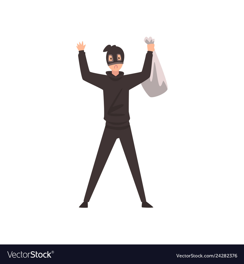Robber dressed in black clothes and mask standing vector image