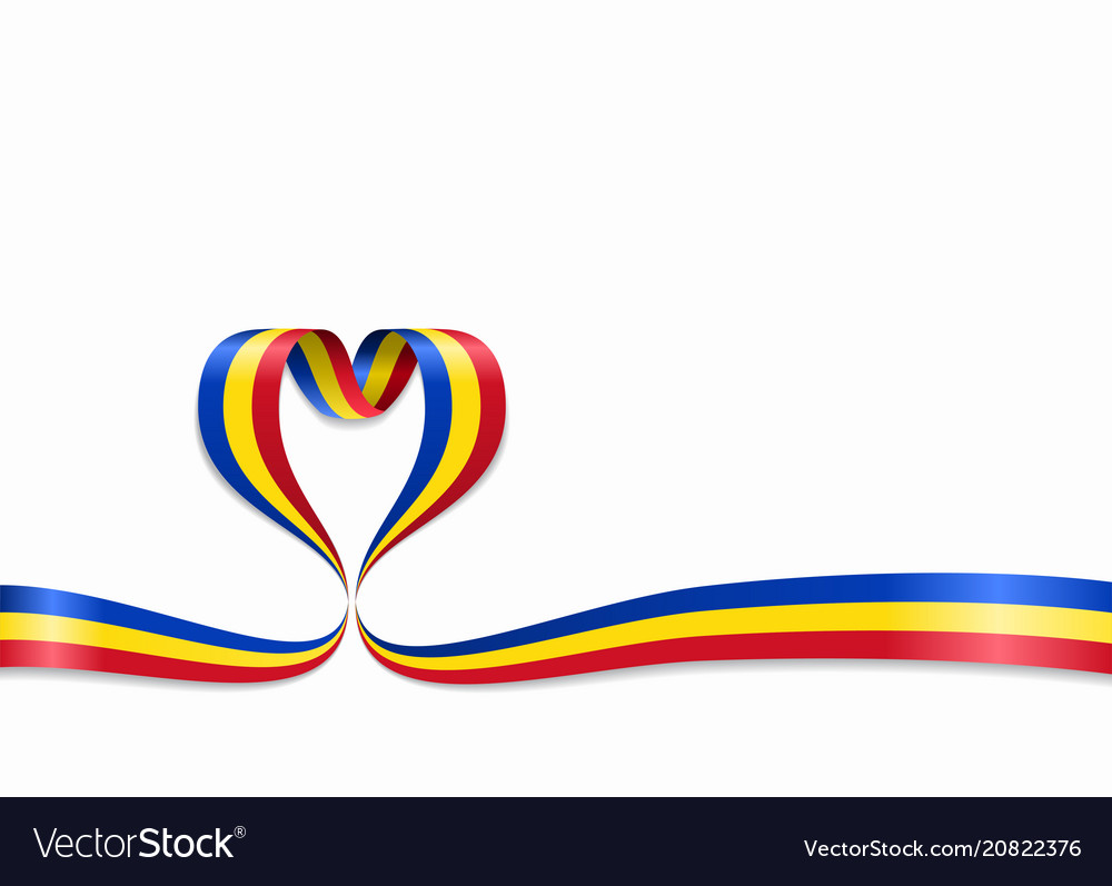 Romanian flag heart-shaped ribbon