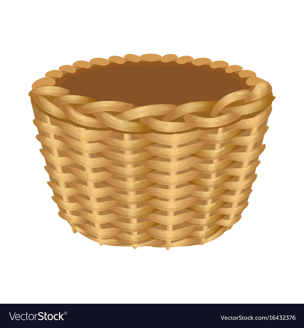 Single handle wicker basket isolated vector image