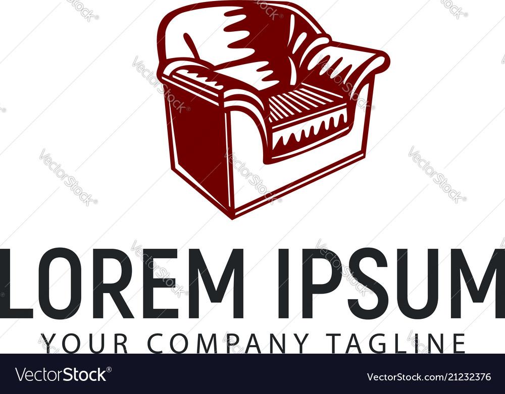 Sofa hand drawn logo vintage design concept