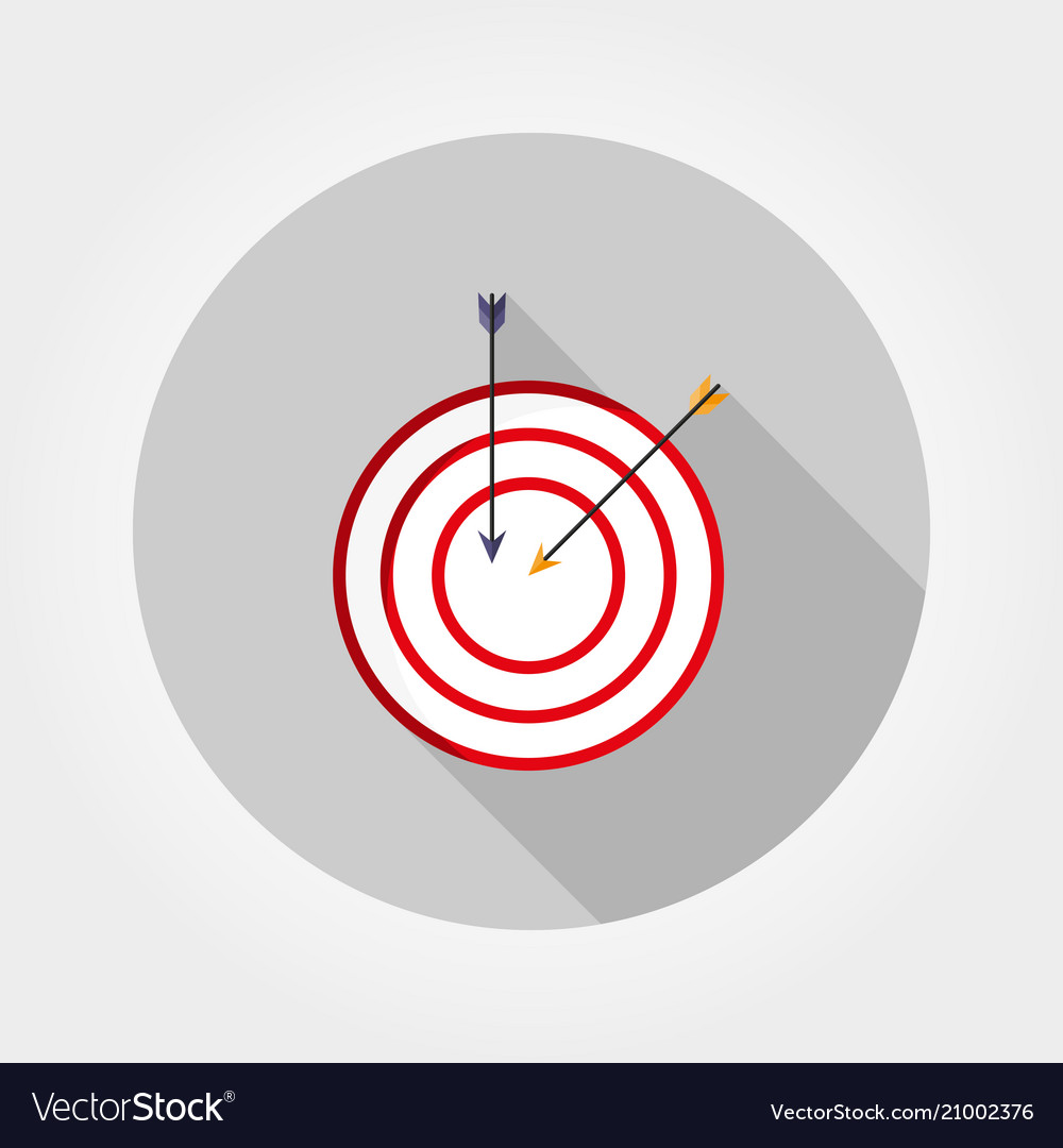Target with an arrow icon flat