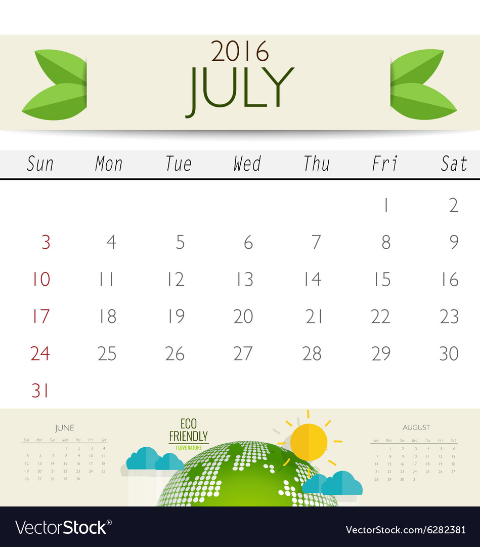 2016 calendar monthly calendar template for july vector image