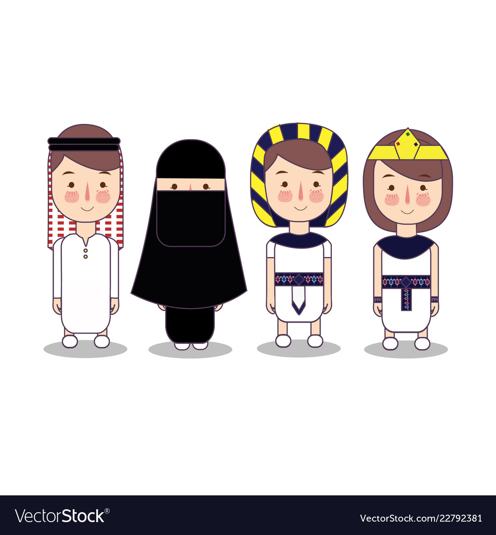 Arab and egypt national clothes set of cartoon