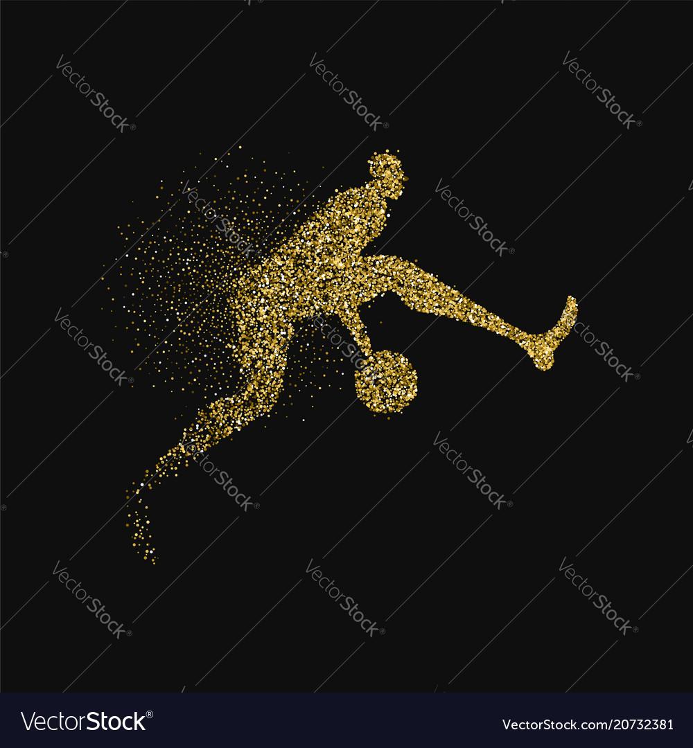 Basketball player silhouette gold glitter splash