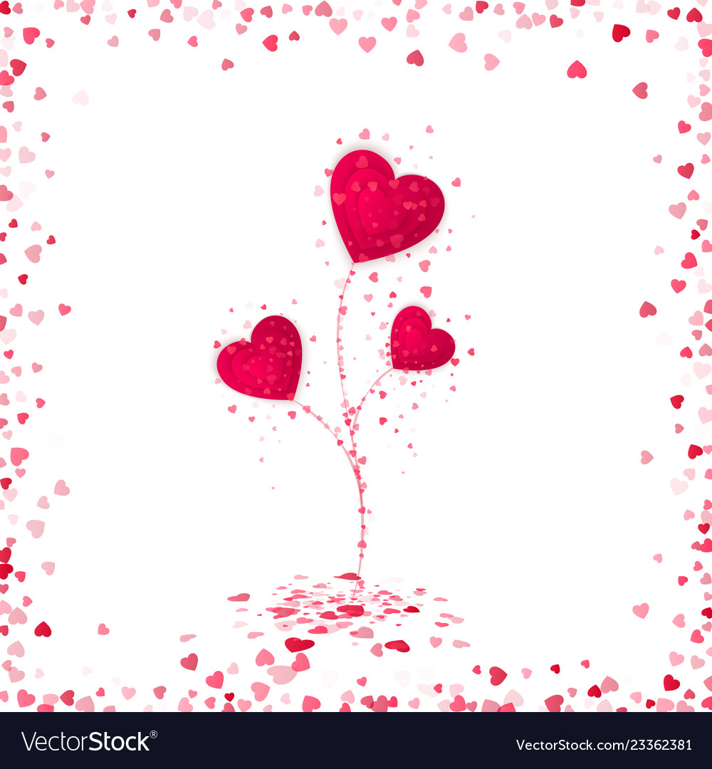 Flower from red paper hearts romantic scattered