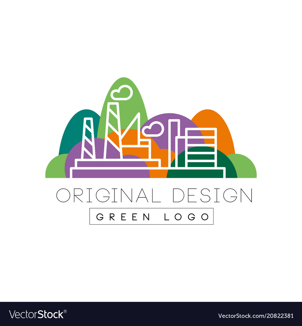 Green logo original design city park and factory vector image