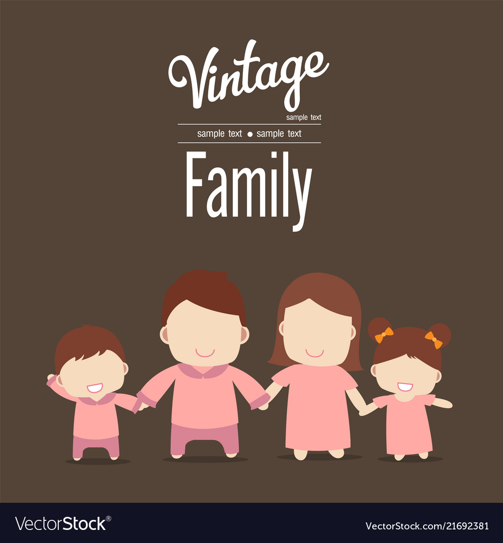 Happy family icon vintage in simple figures two