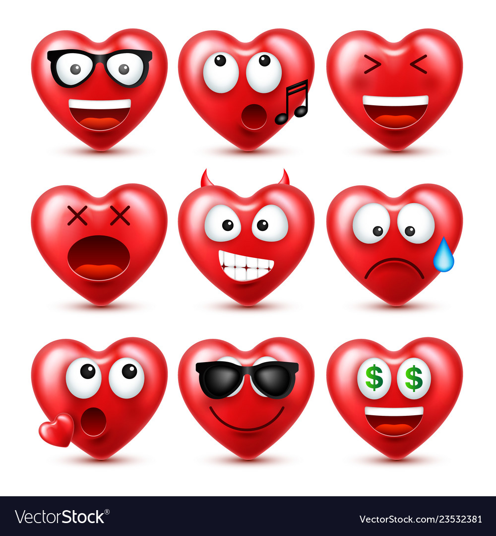 Heart smiley emoji set for valentines day