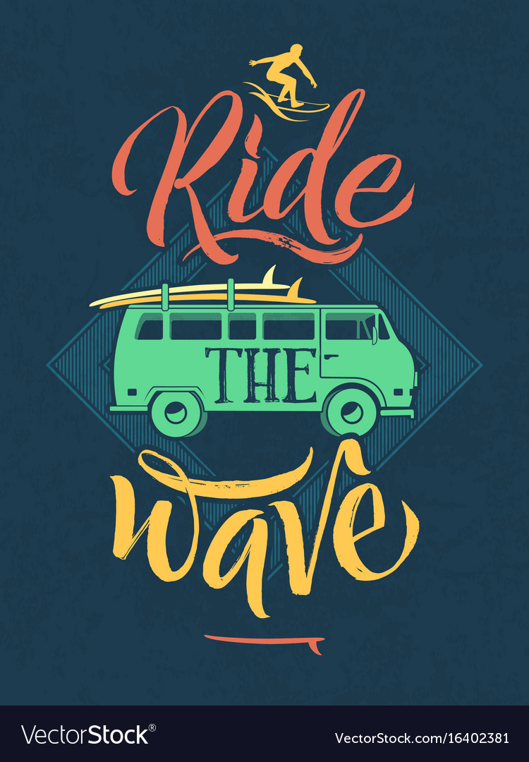 Retro poster surfer on waves in hawaii