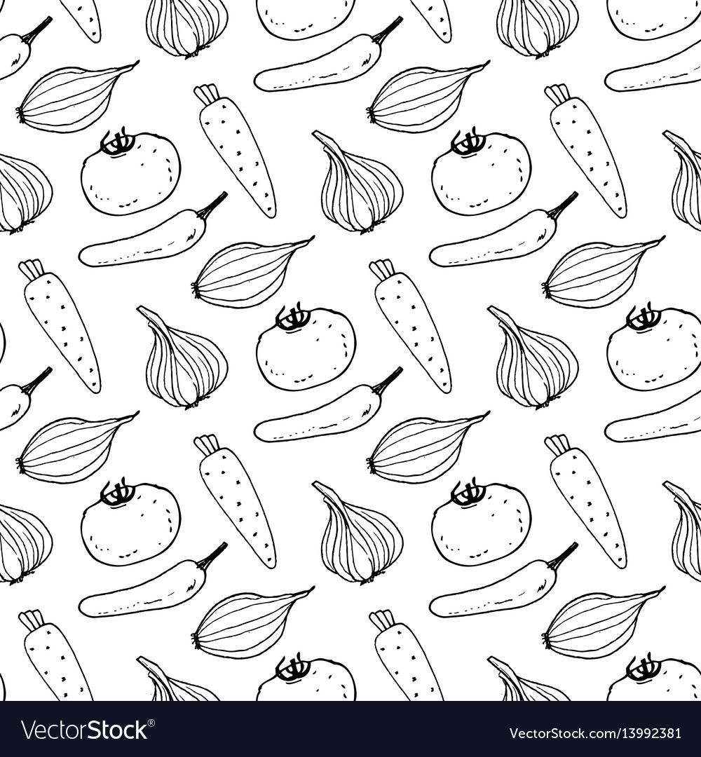 Seamless pattern with the image of vegetables