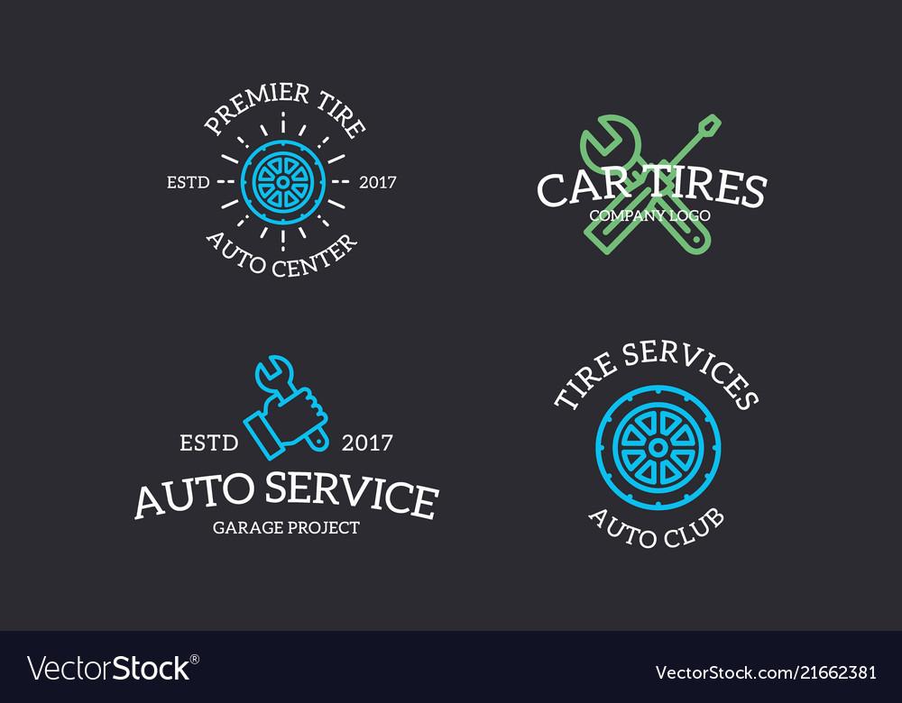 Set of retro vintage automobile wrench