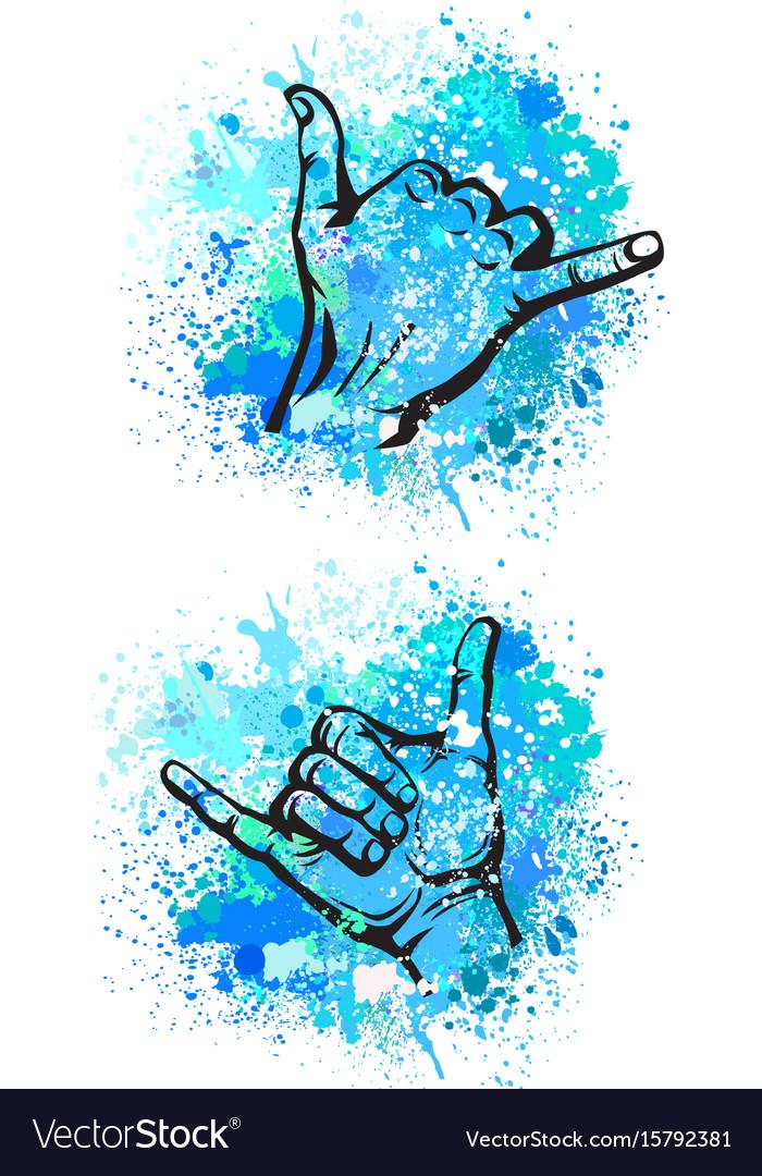 Shaka hand sign vector image