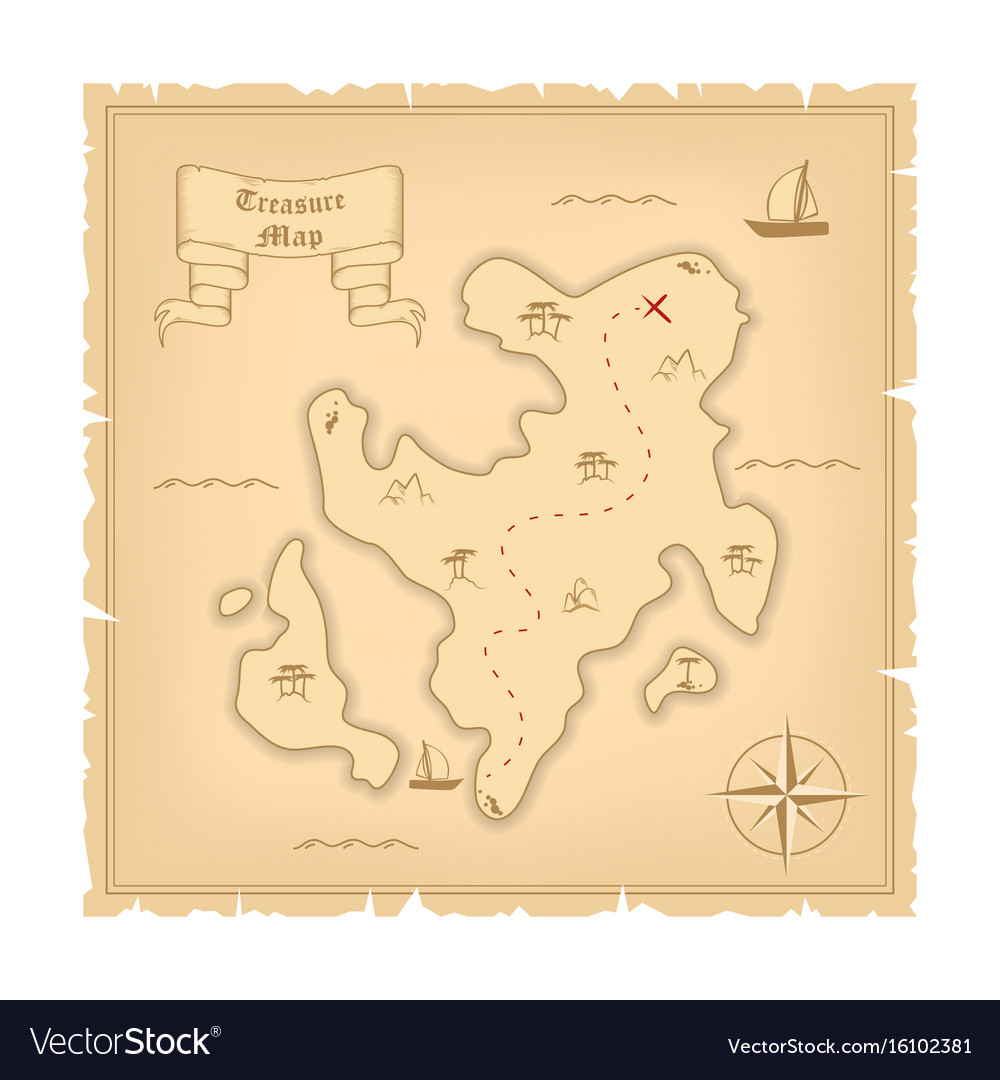 Template of pirate old treasure map