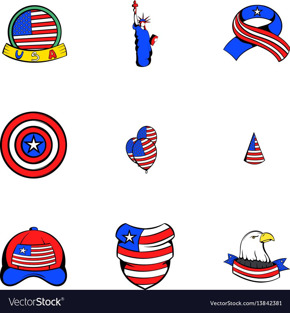 Usa icons set cartoon style
