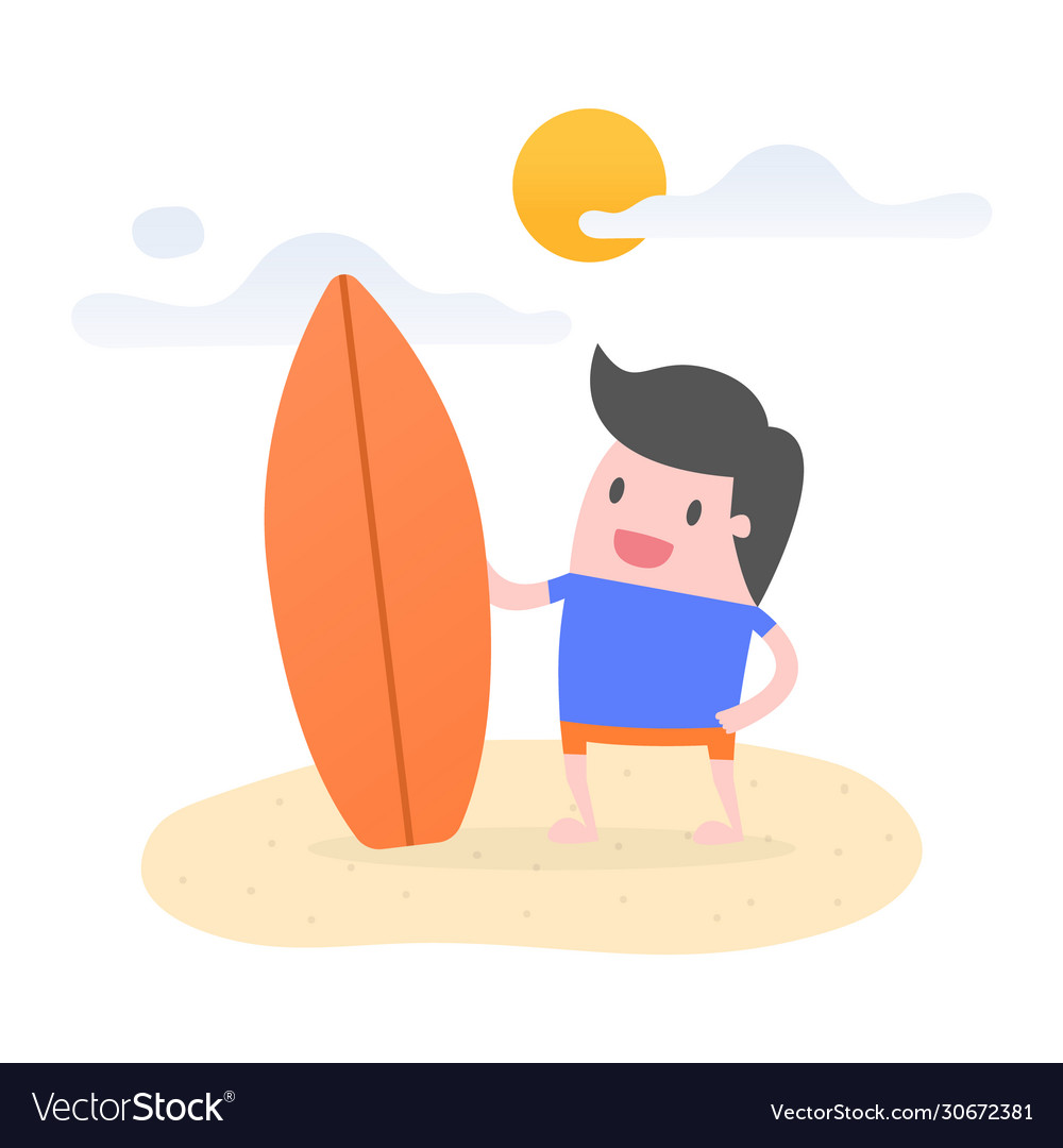 Young man on beach with his surfboard