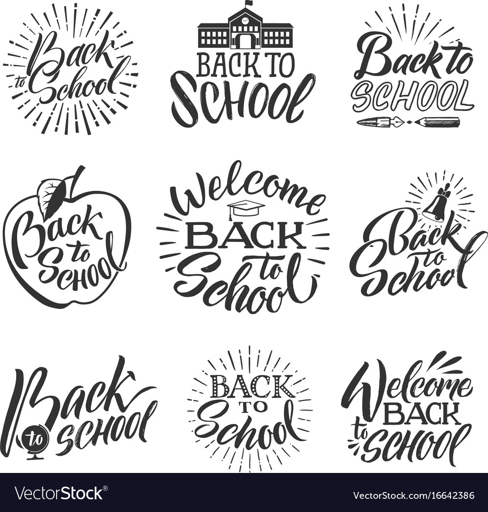 Back to school set of hand writing words and