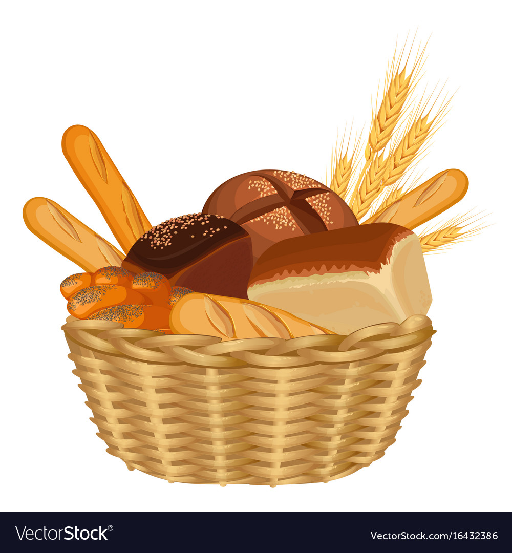 Basket filled with baked goods realistic style