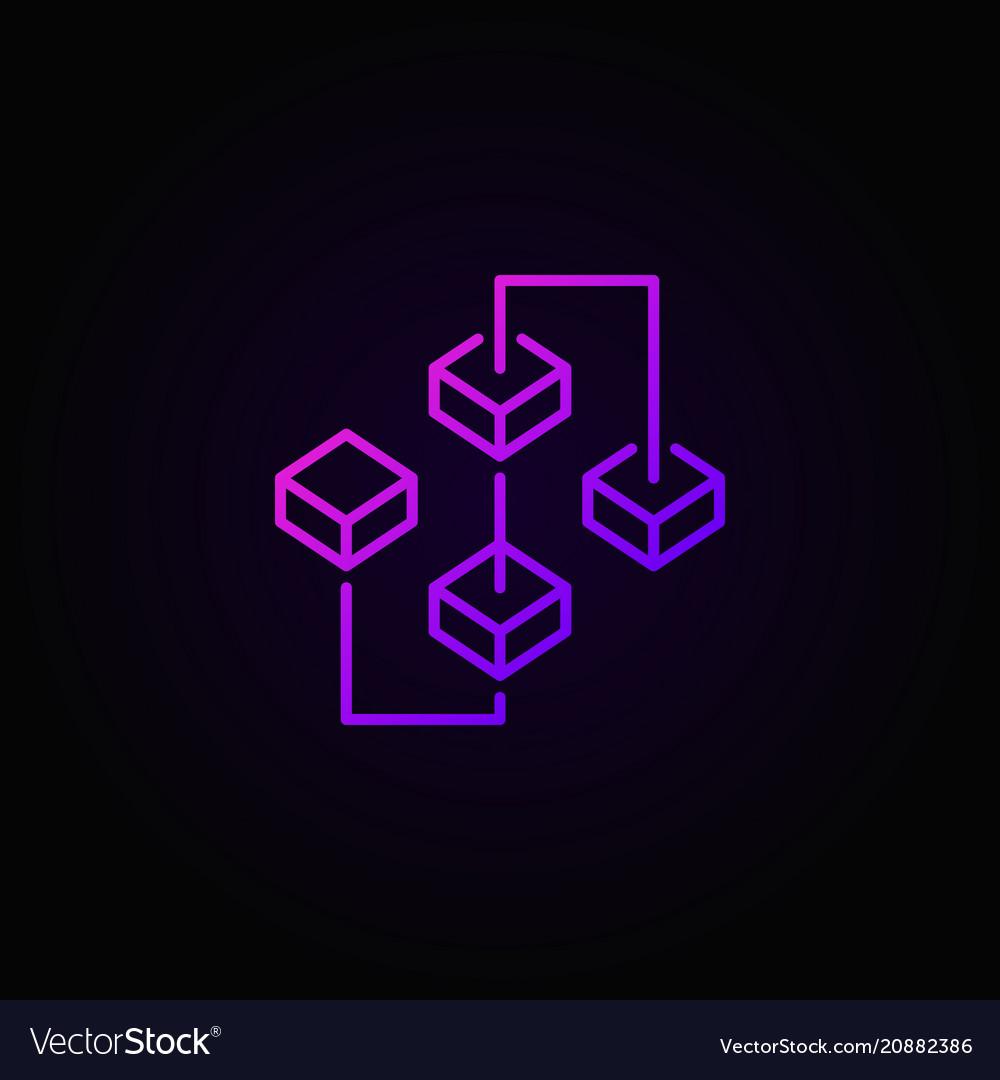 Blockchain purple bright icon or sign in