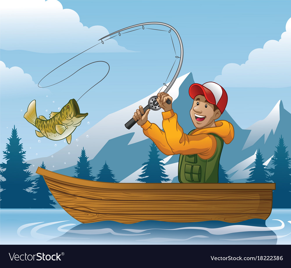 cartoon of man fishing in boat royalty free vector image