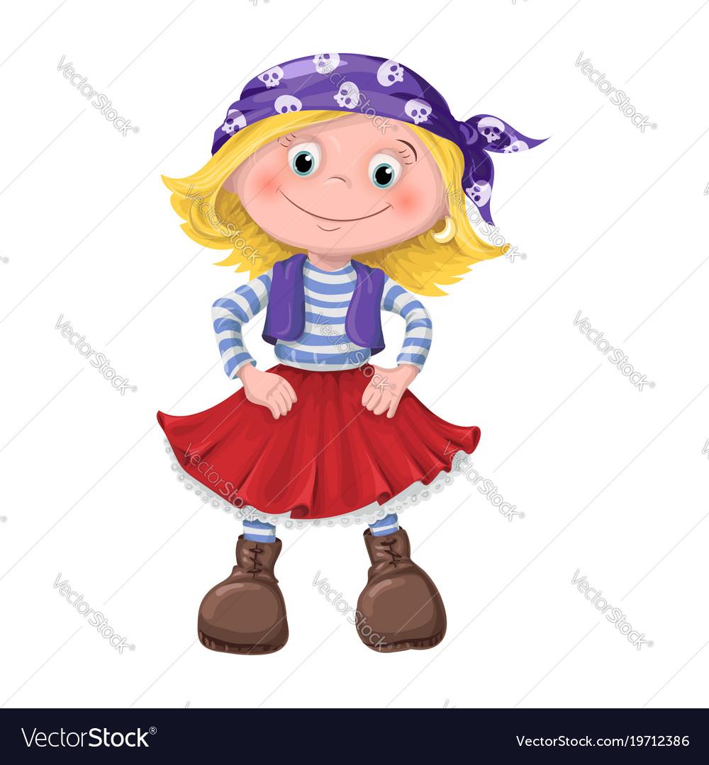 Cute girl children pirates