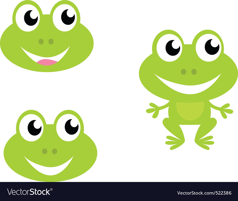 cute green cartoon frog icons royalty free vector image