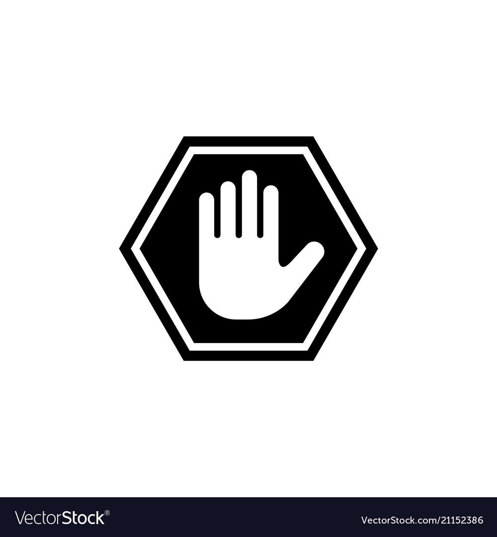 Do not enter stop hand flat icon